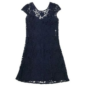 Prada Lace Cap Sleeve Shift Dress w/ Silk Slip 38